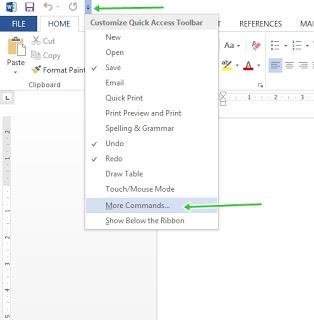 cara msuk menu word options