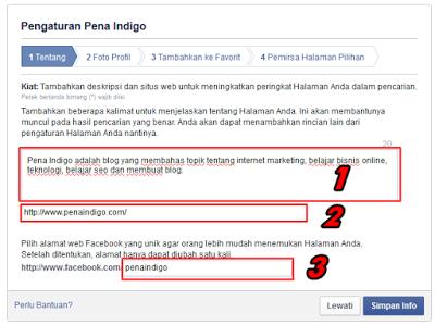 Pengaturan fans page facebook