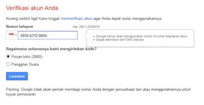 verifikasi gmail dengan nomor telephone