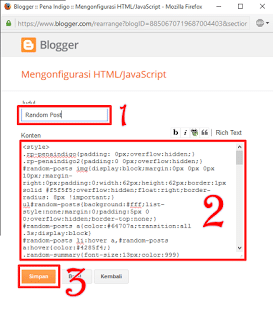 cara memasang random post di blog
