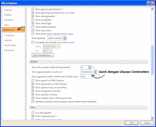 Cara Merubah Ukuran Inchi ke Cm di microsoft Word 2007