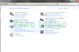 Tampilan Control Panel Pada Windows 7