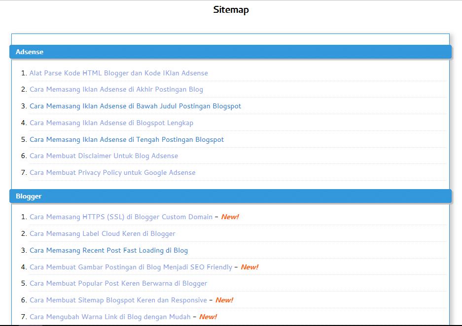 cara membuat sitemap di blog
