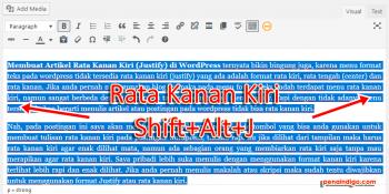 Cara Membuat Artikel Rata Kanan Kiri justify di WordPress