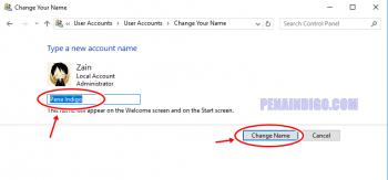 cara mengganti nama user account windows 8 dan 10