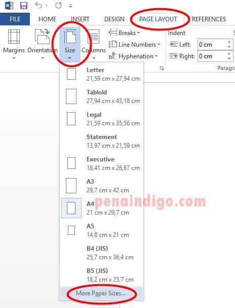 cara mengatur ukuran kertas folio f4 di ms word