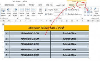 cara mengatur posisi tulisan pada tabel ms word 1
