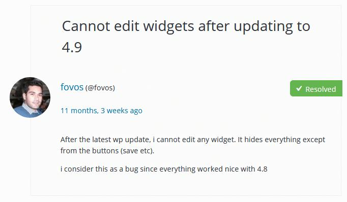 tidak bisa edit widget setelah update wordpress