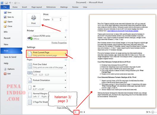 mencetak halaman tertentu di ms. word
