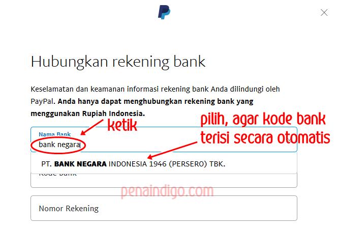 memasukkan rekening bank ke akun paypal