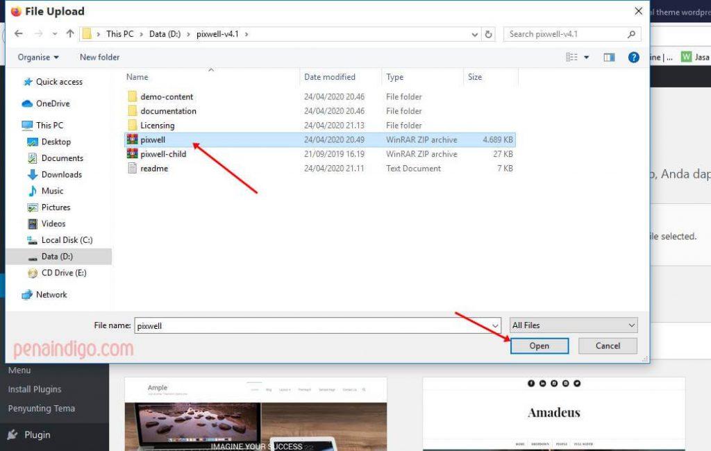 cara instal theme wordpress melalui dasbor 3